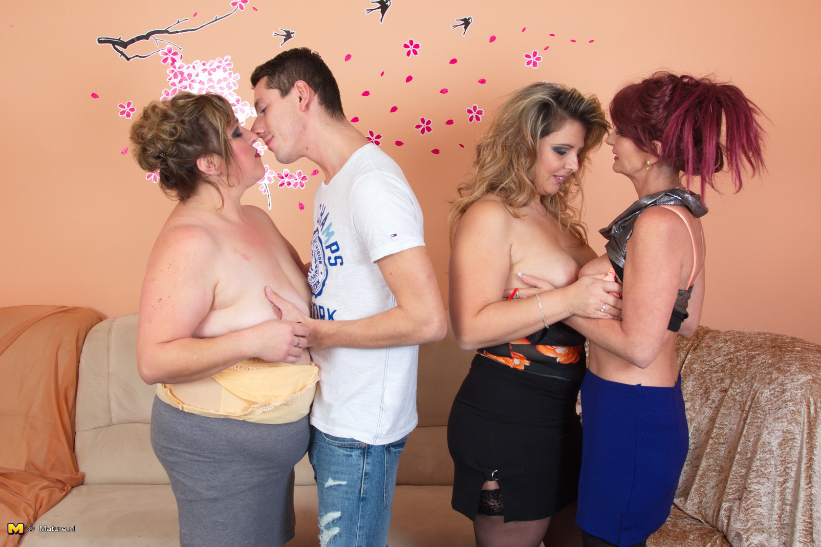 Three chubby matures fuck a young dude 10